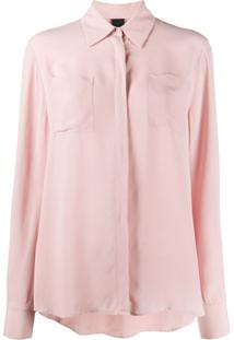 Pinko Blusa Com Bolso No Busto - Rosa