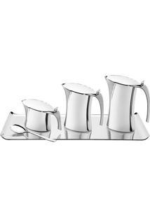 Jogo Para Chá & Café Em Relevo- Inox- 5Pçs- Tramtramontina