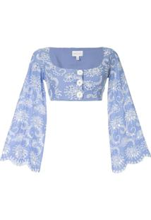 Alice Mccall Blusa Cropped Cloud Obscurity - Azul