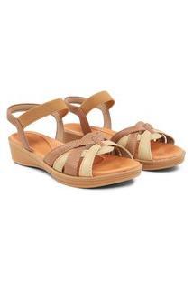 Sandalias Usaflex Napa Com Elastico Caramelo Af0405 Marrom