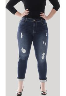 Calça Cropped Jeans Sawary Feminina Com Faixa Animal Print Plus Size Azul Escuro