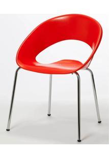 Cadeira One Base Fixa Cromada Cor Vermelho