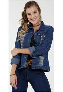 Jaqueta Feminina Jeans Textura Marisa