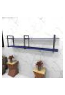 Estante Estilo Industrial Sala Aço Cor Preto 180X30X40Cm (C)X(L)X(A) Cor Mdf Azul Modelo Ind39Azsl