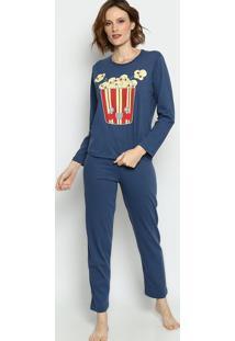 Pijama Pipocas- Azul Escuro & Amarelo Claro- Zulaizulai