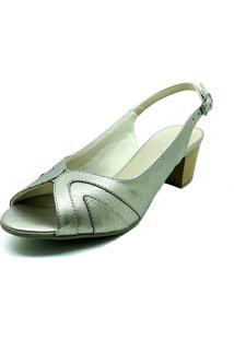 Sandalia Salto Quadrado Dani K Peep Toe Prata