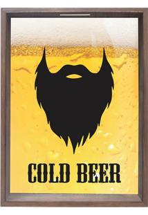Quadro Porta Rolhas E Tampinhas Cold Beer Madeira