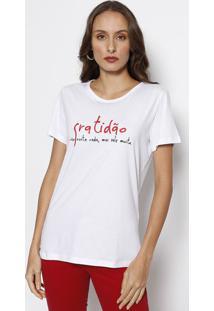 """Camiseta """"Gratidão"""" - Branca & Vermelhaforum"""