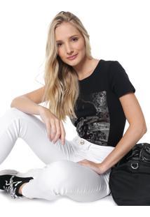 Camiseta Cativa Snoopy Estampada Preta