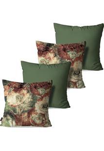 Kit Com 4 Capas Para Almofadas Pump Up Decorativas Estilo Pintura Folhas E Flores 45X45Cm