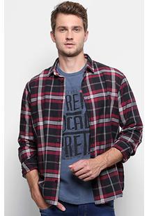 Camisa Xadrez Reserva Manga Longa Masculina - Masculino-Preto+Vermelho