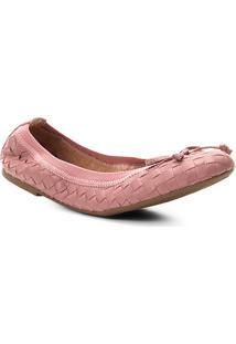 Sapatilha Couro Shoestock Elástico Trançado Feminina - Feminino-Rosa