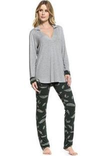 Pijama Inverno Plumas Feminino - Feminino-Verde