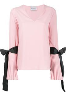 Blumarine Blusa Com Punhos Plissados De Crepe - Rosa
