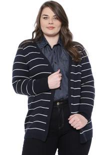 Maxi Cardigan Gris Plus Tricot Listrado Azul-Marinho