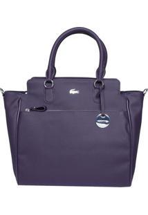 Bolsa Texturizada Com Bag Charm - Roxo Escuro - 32X4Lacoste