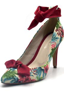 Scarpin Indian Line Bico Fino Floral Bege