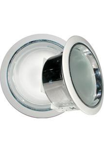 Refletor De Embutir 23Cm Com Vidro Fosco E-27 2 Lâmpadas Max 60W Branco
