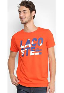 Camiseta Lacoste Estampada Masculina - Masculino-Laranja+Azul