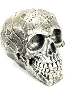 Escultura Kuff Acessórios Caveira Cartas Prata