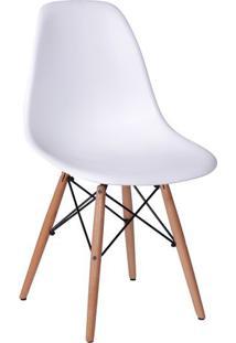 Cadeira Eames Dkr- Branca & Madeira- 80,5X46,5X42Cm