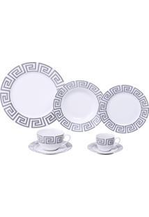Aparelho De Jantar Com 42 Peças Em Porcelana Cinza Zig Zag 8149 Lyor Classic