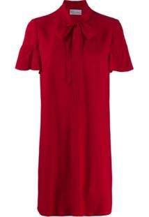 Red Valentino Vestido Curto Com Laço Na Gola - Vermelho