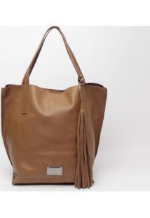 Bolsa Em Couro Com Bag Charm - Marrom & Marrom Escuro