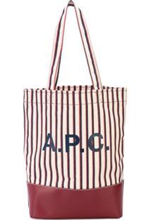 A.P.C. Bolsa Tote Listrada Com Logo - Branco