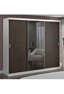 Guarda-Roupa Casal 3 Portas Com 1 Espelho 100% Mdf 7318E1 Branco/Málaga - Foscarini