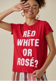 T-Shirt Amaro Red, White Or Rosã© Vermelho - Vermelho - Feminino - Dafiti