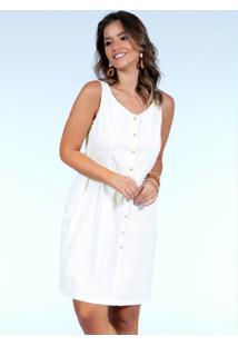 Vestido Clássico Off White Com Botões
