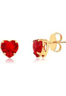 Brinco Pequeno De Coração Vermelho Folheado Em Ouro 18K - 2180000001756