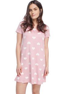 Camisão Feminino Curto Rosa Hearts