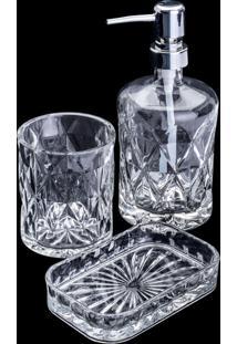 Conjunto 3 Peças De Banheiro De Vidro Diamond