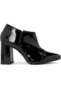 Amaro Feminino Ankle Boot Salto Flare Verniz, Preto