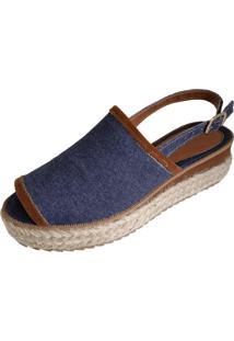 Sandalia Scarpe Sola Alta Jeans