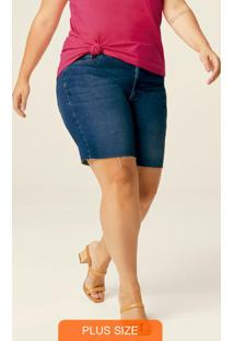 Bermuda Azul Escuro Feminina Comfort Jeans Plus