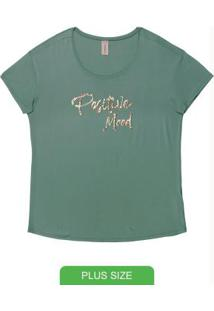 Blusa Plus Size Com Bordado Verde