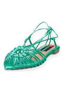 Sandalia Love Shoes Rasteira Bico Folha Amarração Tirinhas Metalizadas Verde