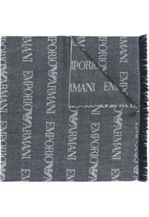Emporio Armani Cachecol Longo De Tricô Com Logo - Cinza