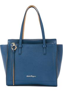 Salvatore Ferragamo Bolsa Tote Com Logo - Azul