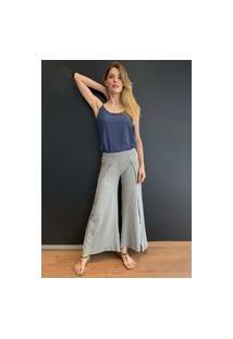 Calça Pantalona Amazonia Vital Malha Transpassada Yoga Mescla