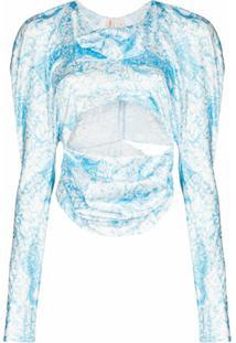 Yuhan Wang Blusa Cropped Kitty Mangas Longas - Azul