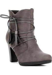 Bota Ankle Boot Feminina Piccadilly Cinza