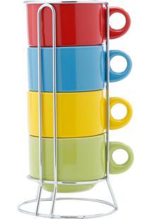 Jogo 4 Xícaras Coloridas Para Chá Com Suporte Bon Gourmet