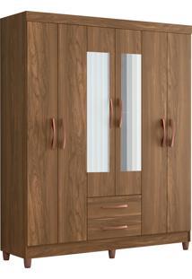Guarda Roupa Ambar C/ Espelho 6 Portas Canela Albatroz - Tricae