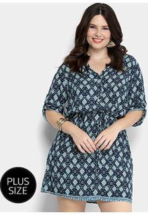 Vestido Holin Stone Chemise Plus Size - Feminino-Azul