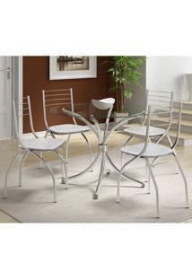 Mesa 375 Vidro Incolor Cromada Com 4 Cadeiras 146 Fantasia Branco Carraro