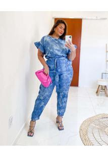 Blusa Almaria Plus Size Miss Taylor Tie Dye Decote